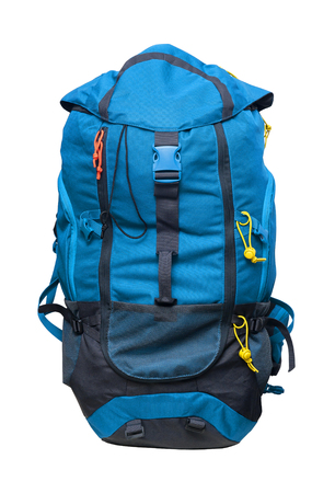 Blue sports backpack isolated on white background Stock Photo