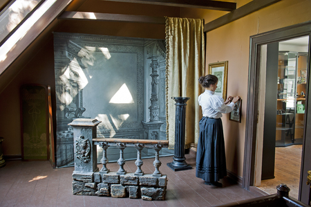 BERGEN, NORWAY - JULY 20, 2018: The Photographic Atelier in Gamle The Old Bergen Museum - the Open Air Museum with 18th and 19th centuries.