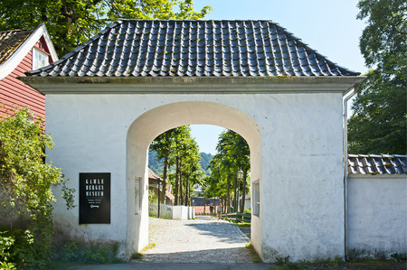 BERGEN, NORWAY - JULY 20, 2018: Entrance to the Gamle Bergen Museum - Old Bergen Museum - the Open Air Museum with 18th and 19th centuries.