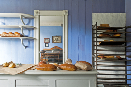 BERGEN, NORWAY - JULY 21, 2018: The Bakery in Gamle Bergen Museum - Old Bergen Museum - the Open Air Museum with 18th and 19th centuries. Editorial