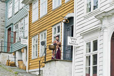 BERGEN, NORWAY - JULY 21, 2018: The Painting Workshop and Cosmetics Store in Gamle Old Bergen Museum - the Open Air Museum with 18th and 19th centuries.