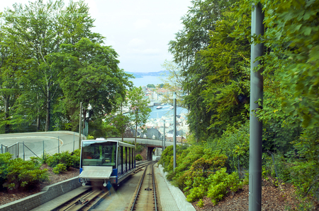 Funicular and tracks on Mount Floyen in Bergen, Norway