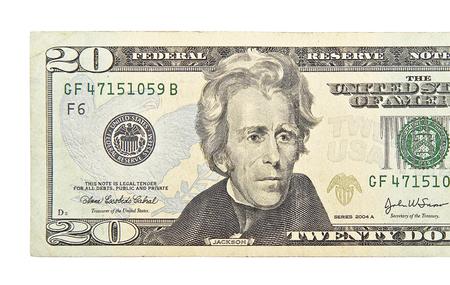 Venti dollari isolati su sfondo bianco