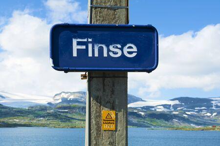 Finse railway station sign on July 28 2019 in Finse on Oslo - Bergen line in Norway