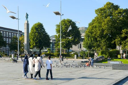 BERGEN, NORWAY - JULY 25, 2019: Festplassen - a recreation area and Christian Michelsen Statue - the first Prime Minister of Norway 1905-1907.
