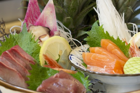 mouth watering: Mixed Sashimi set which including tuna salmon and octopus