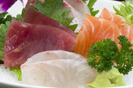 Mixed Sashimi set which including tuna salmon photo