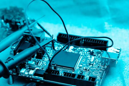 abstract background of engineering electronic circuit bord, closed up, engineering and technical experimental kit concept.
