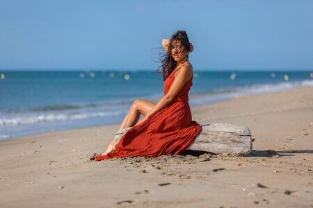Young woman sitting on driftwood on the beach. Happiness Lifestyle Dream Concept. 版權商用圖片