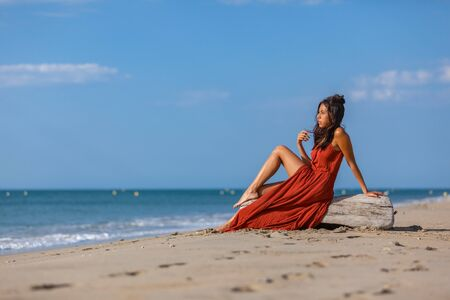Young woman sitting on driftwood on the beach. Happiness Lifestyle Dream Concept.