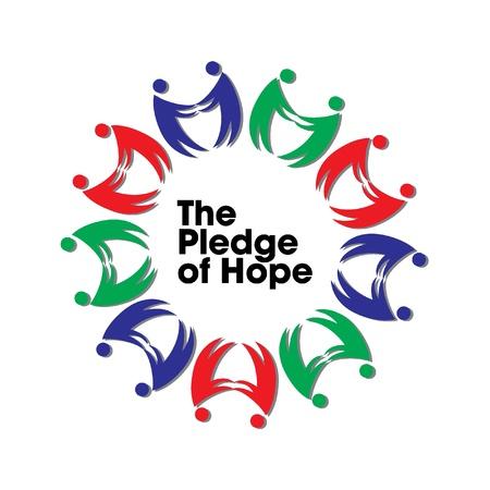 Promesa de logotipo de esperanza para la unidad de socorro caridad Tsunami 2011, Jap�n Foto de archivo - 9085273