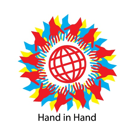 Hand in Hand Logo for Tsunami Relief Efforts Charity Drive 2011, Japan Stock Vector - 9085277