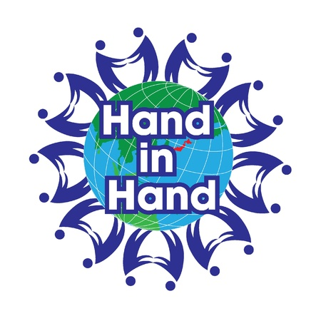 Hand in Hand Logo for Tsunami Relief Efforts Charity Drive 2011, Japan Stock Vector - 9085280