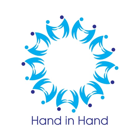 Hand in Hand Logo for Tsunami Relief Efforts Charity Drive 2011, Japan Stock Vector - 9085269