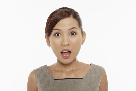 widening: Woman with a shocked facial expression