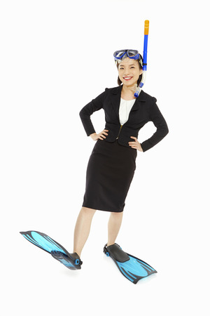 Businesswoman with scuba diving gear photo