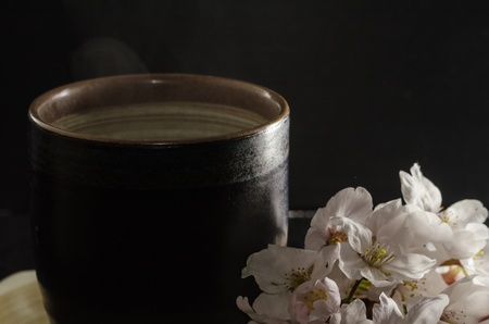 mat like: Japanese teacup and flower of a cherry tree