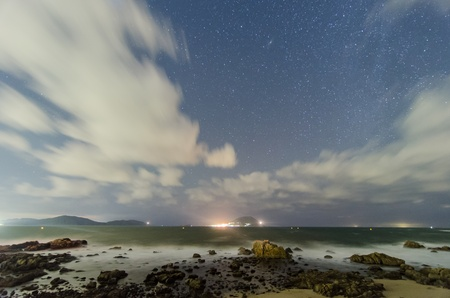 starlit sky: sea and a starlit sky  Stock Photo