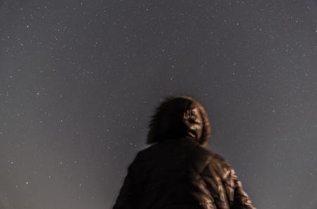 starlit sky: male and starlit sky  Stock Photo