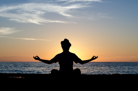 constructs: The man who constructs zen, and evening glow Stock Photo