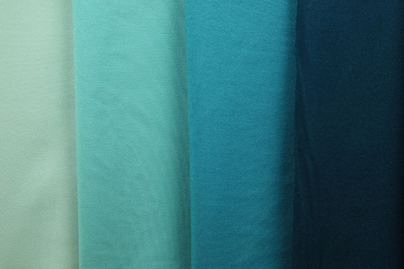 many blue colors of polyester cloth