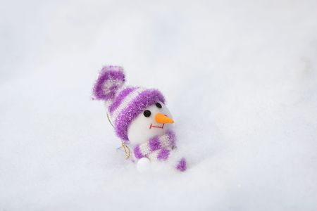 pokrývka hlavy: The christmas snowman in the outdoor.
