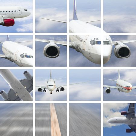 the airplane on  the blue sky background. Stock Photo - 4734957