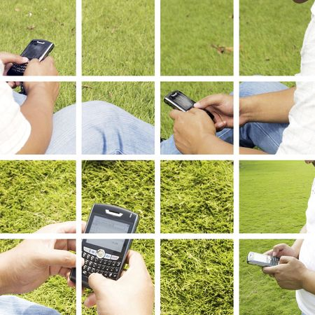 The man using cell phone outdoors. Stock Photo - 4734906