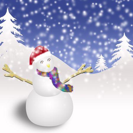 El mu�eco de nieve con un gorro de Navidad.  Foto de archivo - 4734916