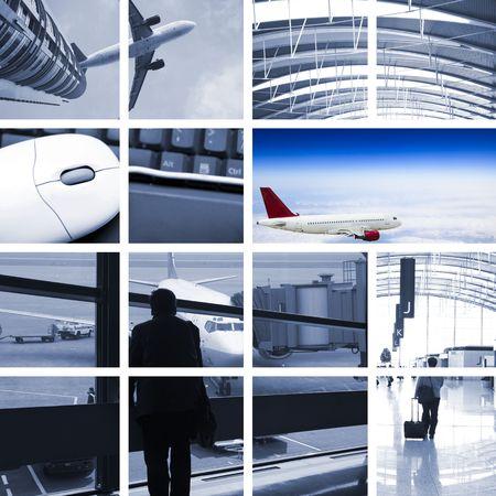 op maat: het vervoer concept met de scène op de luchthaven. Stockfoto