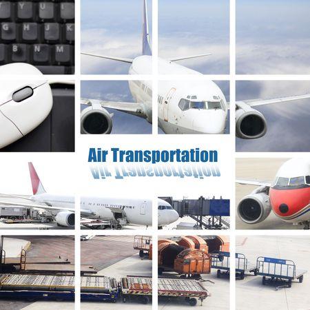 op maat: de lucht transportconcept met de scène op de luchthaven.