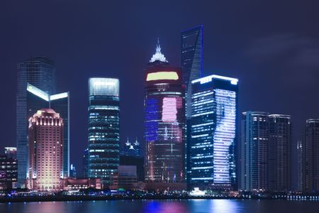 riverine: the night view of shanghai china.
