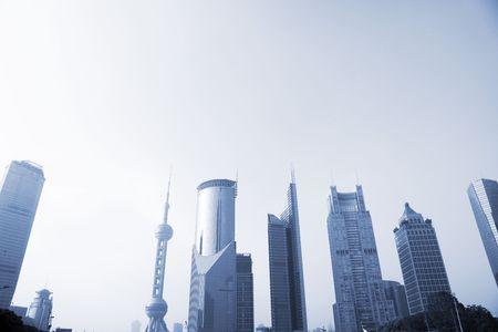 erection: the modern building of the lujiazui financial centre in shanghai china.