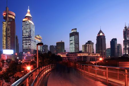 overbridge: the night view of shanghai china.