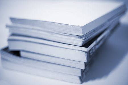 educative: book accumulating on the white background. Stock Photo