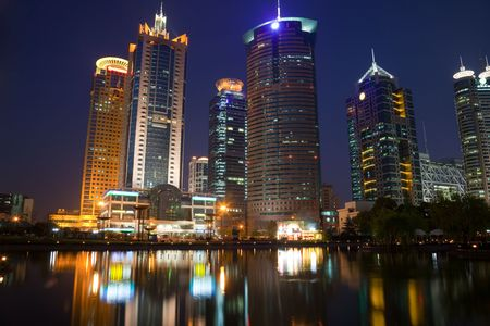 lake district: the night view of the lujiazui financial centre in shanghai china. Stock Photo