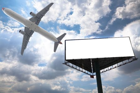 billboard and air with the blue sky background. photo