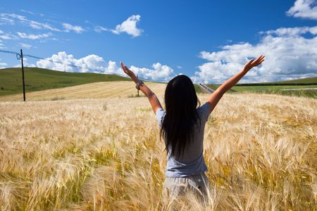 the girl stand in the wheaten field. photo