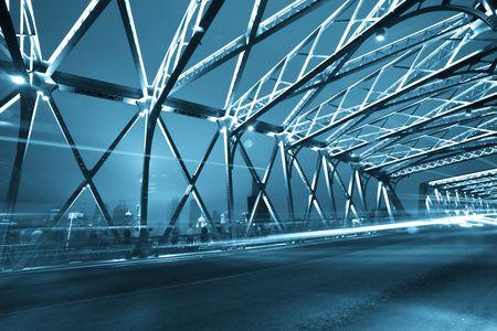 TRUSS: Night traffic lights inside of the Garden Bridge of shanghai china. Stock Photo