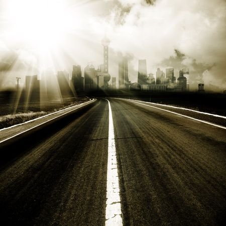 the abstract background of the road and city . Stock Photo - 5706985