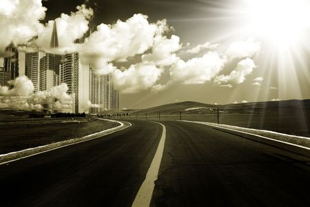 the abstract background of the road and city . photo
