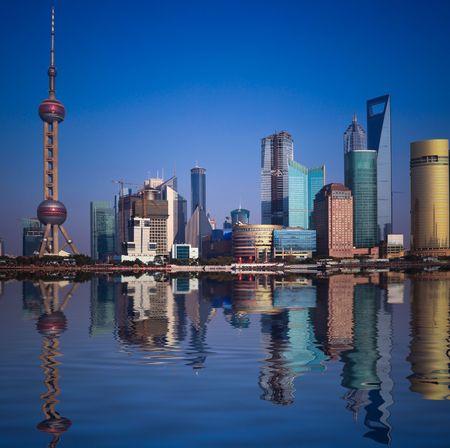 Wide angle view of Shanghai, China skyline.the landmark of shanghai. Editorial