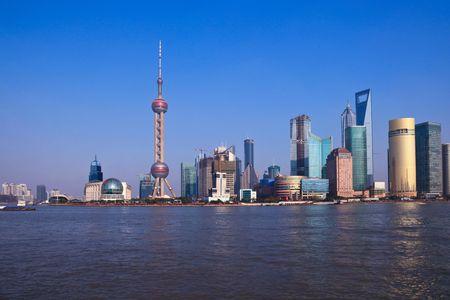 Wide angle view of Shanghai, China skyline.the landmark of shanghai. Stock Photo