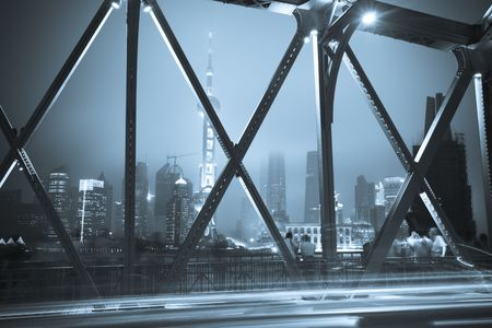 bridge footing: Night traffic lights inside of the Garden Bridge of shanghai china. Stock Photo