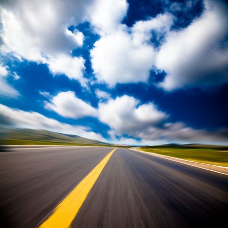 the background of the road wiht cloud of a meadow china. Stock Photo