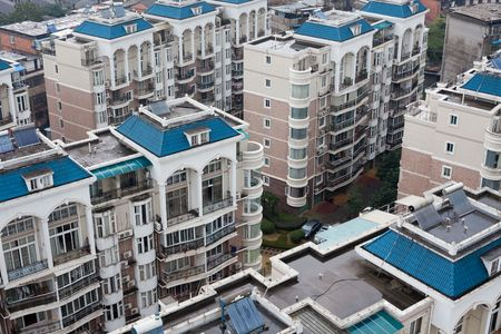 birds  eye view the housing of a city in china. photo