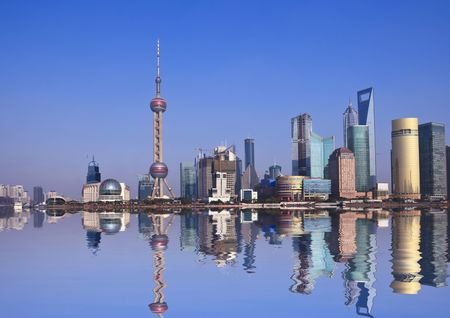 shanghai pudong skyline:   Wide angle view of Shanghai, China skyline.the landmark of shanghai. Editorial