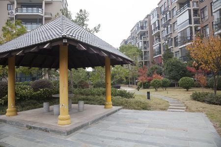 the footpath with the chinese garden background in a uptown in china . photo