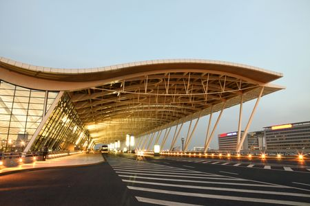 the night view of the pudong airport. 스톡 콘텐츠