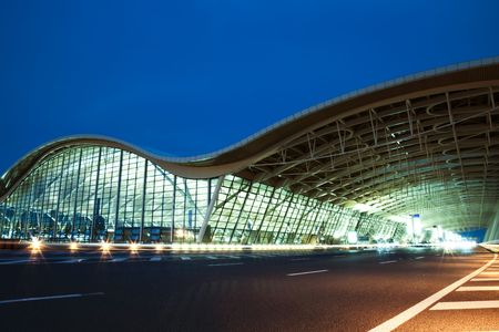 pudong: the night view of the pudong airport. Editorial